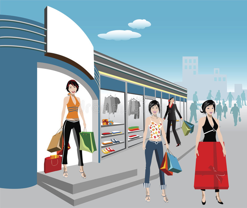 Shoppers vector illustration