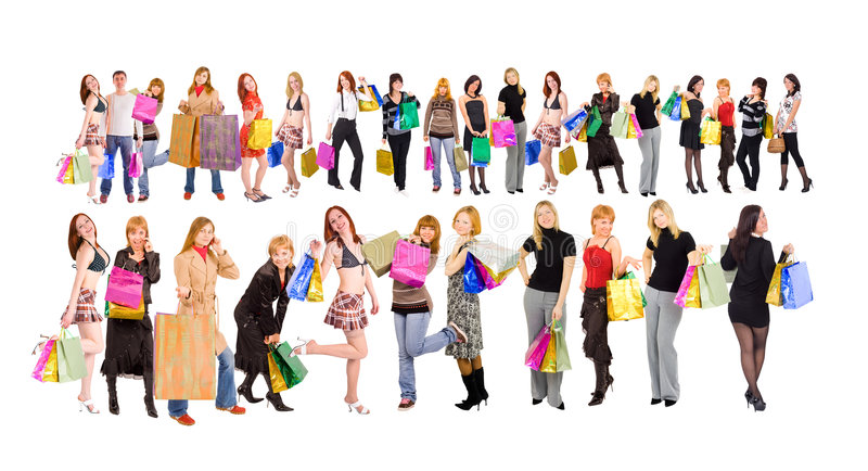 Shoppers. Isolated on white background