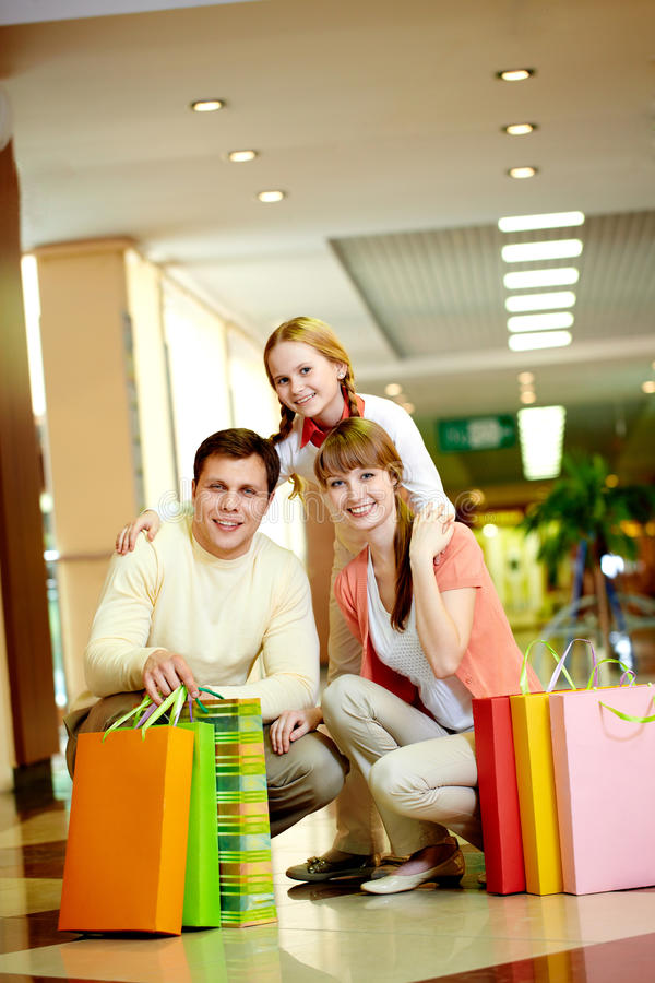 Shoppers with bags royalty free stock images