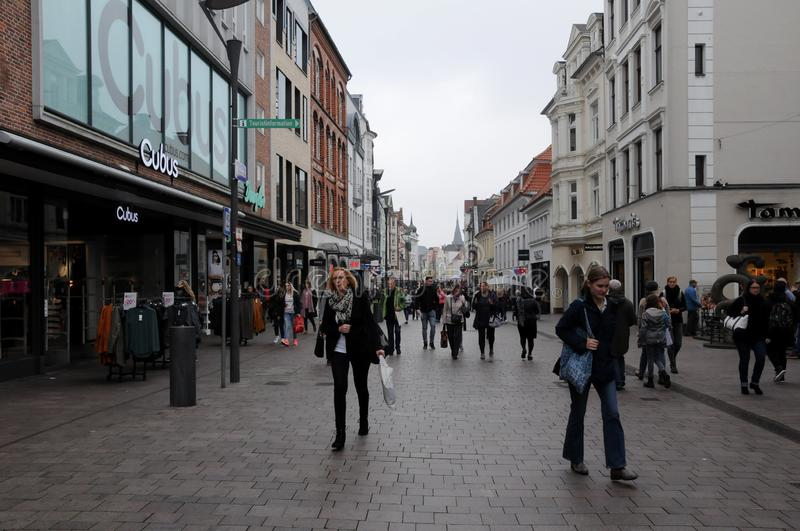 SHOPPERS IN FLENSBURG GERMANY. Flensburg/Schleswig-Holstein/Germany. 05. October 2018..Shoppers in Flensburg in Germany on pedestrain street . . Photo. .Francis royalty free stock photo