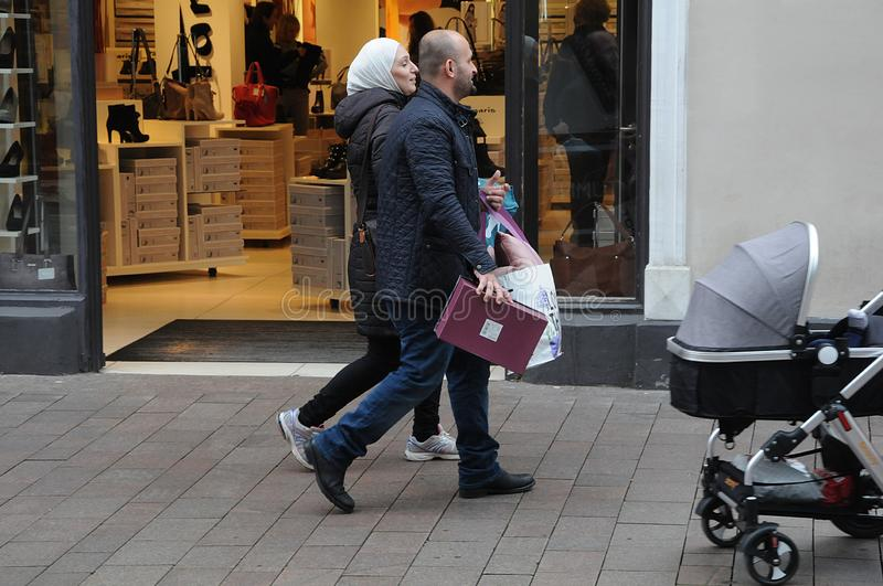 SHOPPERS IN FLENSBURG GERMANY. Flensburg/Schleswig-Holstein/Germany. 05. October 2018..Shoppers in Flensburg in Germany on pedestrain street . . Photo. .Francis royalty free stock photography