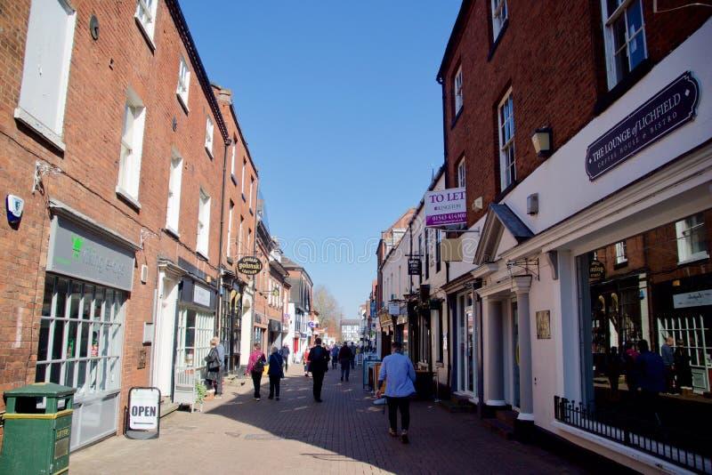 Shoppers in Lichfield city. Lichfield Staffordshire England united kingdom stock photos