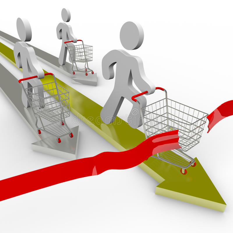 Shoppers Race for the Best Deal vector illustration