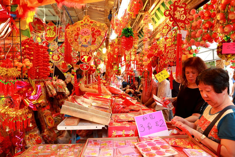 Shoppin lunar chinês do ano novo de Singapore Chinatown imagem de stock royalty free