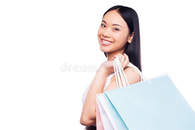 Shopping är den bästa kvinnliga ockupationen! royaltyfria bilder