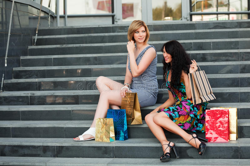 Download Two Young Fashion Women With Shopping Bags Stock Image - Image: 16869797