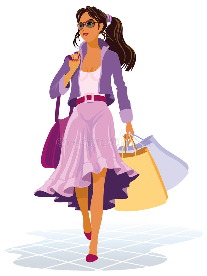 On shopping. Vector illustration of girl with shopping bags on the sales