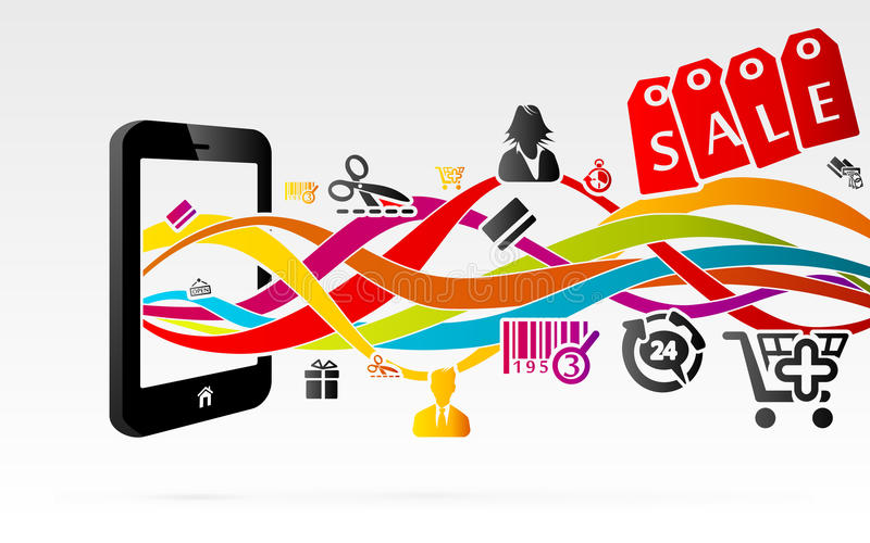 Shopping. Online shopping using internet connected mobile phones royalty free illustration
