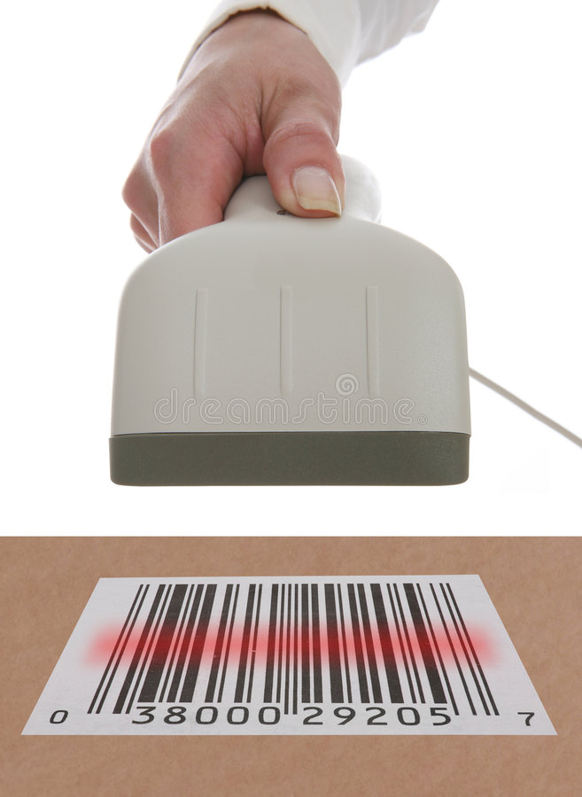 Shopping. A woman scanning a barcode in a theme of buying and selling