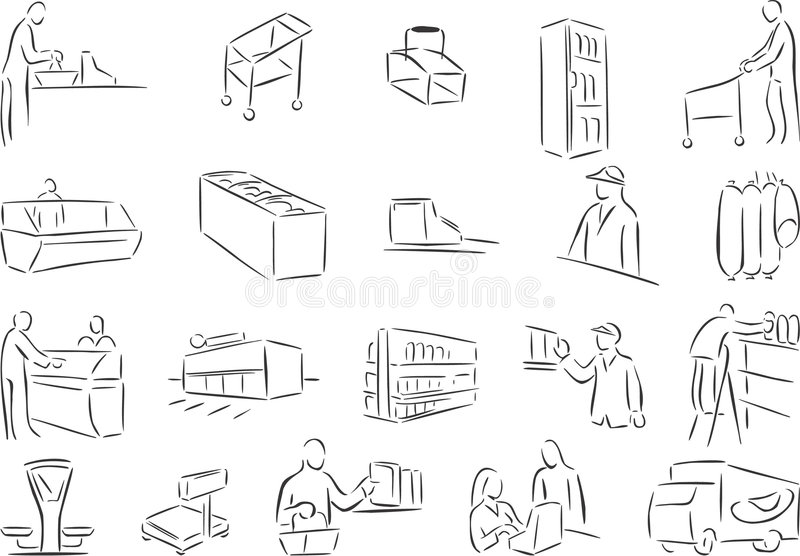 Shopping. 20 themed EPS images related to shopping. The number of vector nodes is absolute minimum. The images are very easy to use and edit and are extremely vector illustration