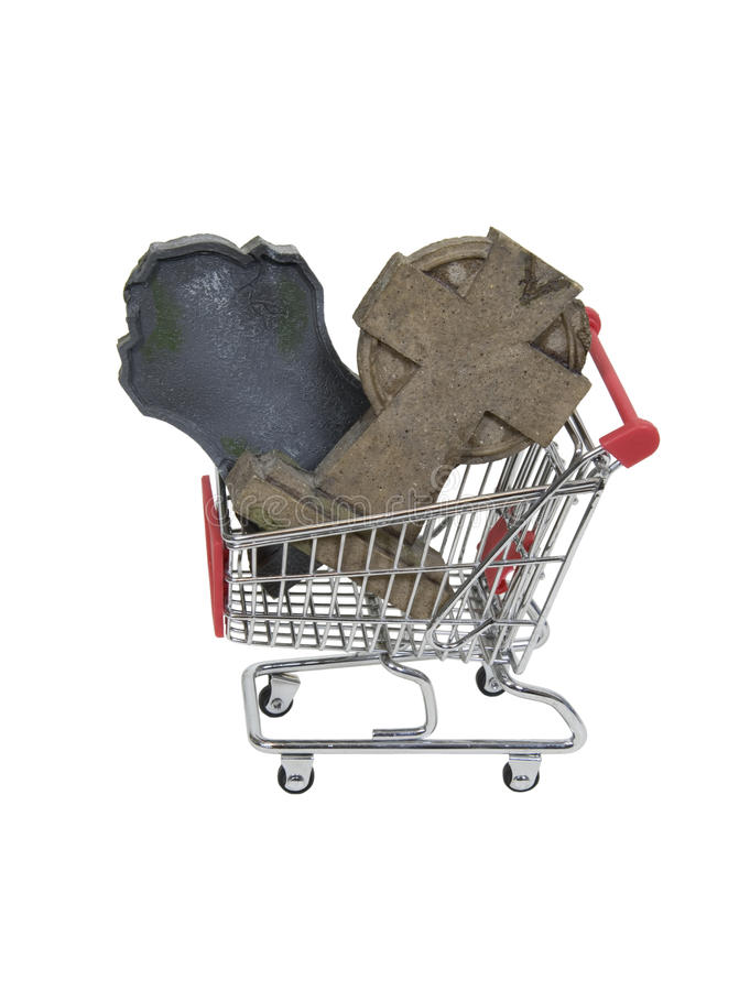 Shopping for the Afterlife. Shown by headstones in a shopping cart - path included stock images