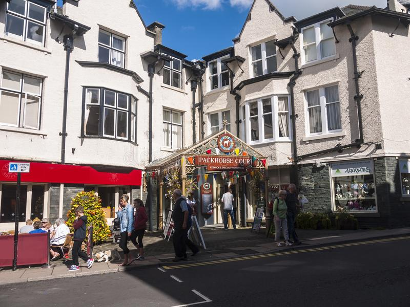 Shopping Arcade in Keswick in north-western England, in the heart of the Lake District. Keswick is a market town in northwest England's Lake District royalty free stock photos