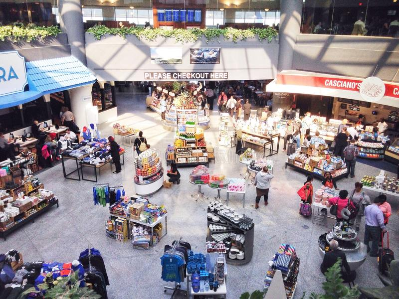 Shopping area in an Airport royalty free stock image
