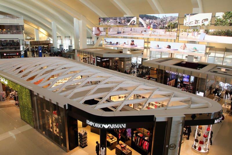 Los Angeles International airport internal duty free shops. Interior of the Tom Bradley International Terminal royalty free stock photos