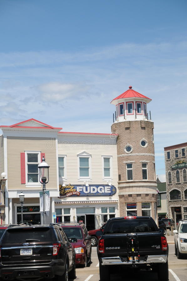 Shopping area Mackinaw City Michigan. Image of a Victorian Style roof and cuploa in Mackinaw the shopping area Mackinaw City Michigan stock image