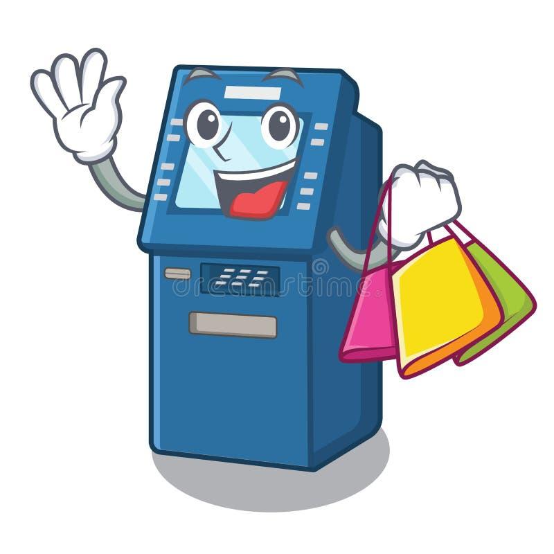 Shopping ATM machine in the cartoon shape. Vector illustration vector illustration