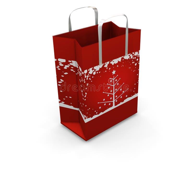 Shopping bag. 3D render of a Christmas shopping bag vector illustration