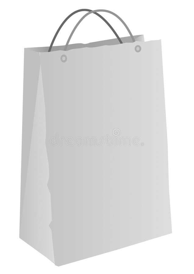 Shopping Bag. Illustration of a generic shopping bag with handles with area for copy space, isolated on a white background vector illustration