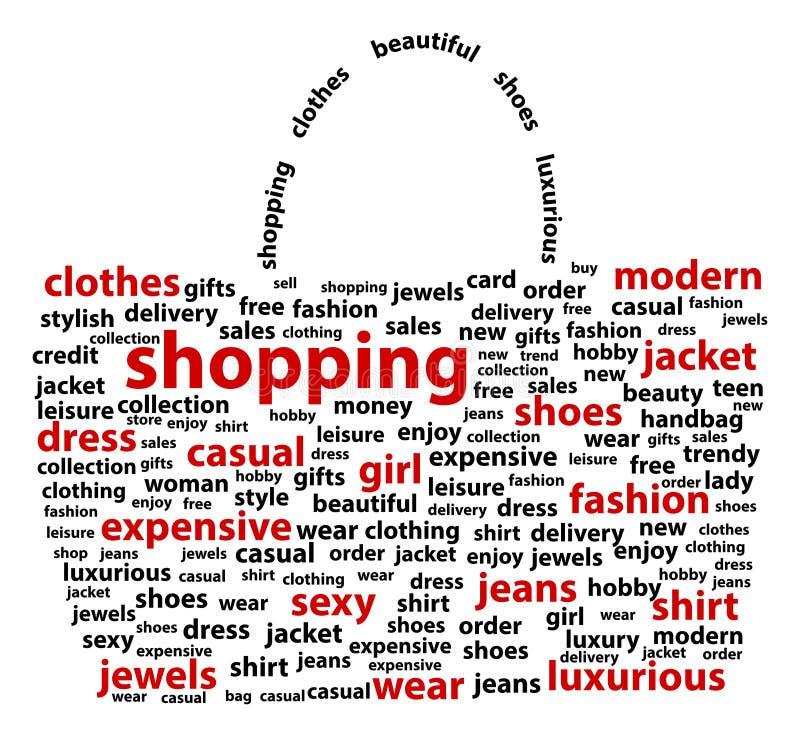 Shopping Bag. Shopping Words - Shape Of Shopping Bag