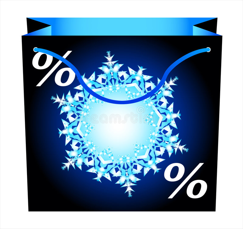 Shopping bag-5. Shopping bag with snowflake. Vector stock illustration