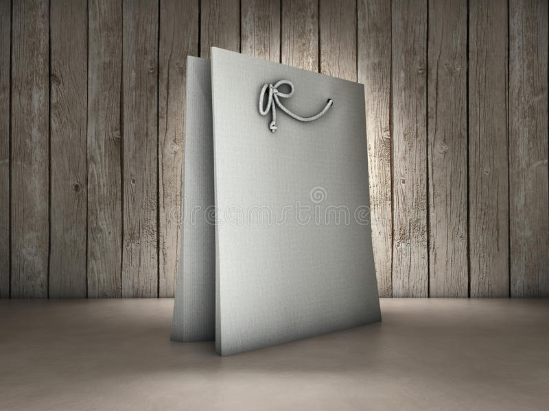 Shopping bag background. Shopping bag on wood background vector illustration