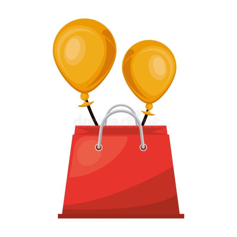 Shopping bag with balloons helium marketing stock illustration