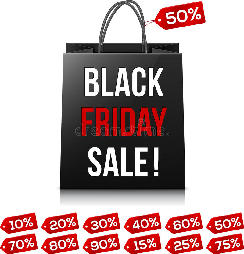 Shopping bag with Black Friday Sale sign and red royalty free illustration