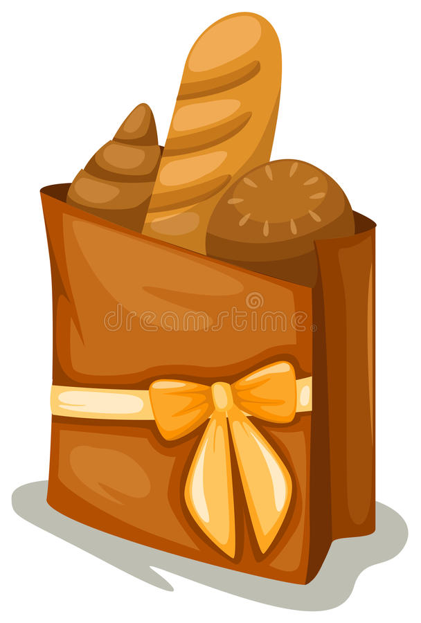 Shopping bag with bread royalty free illustration