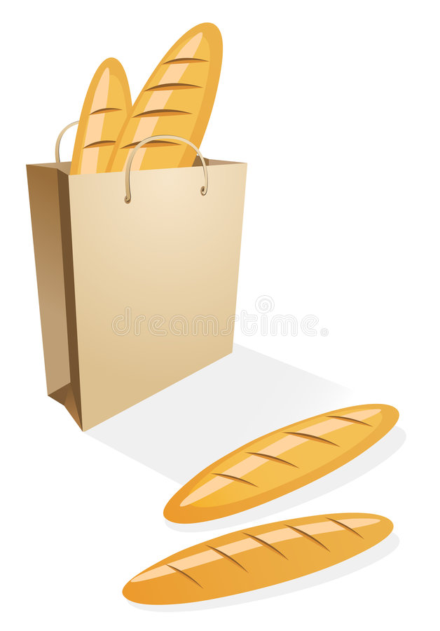 Shopping bag with bread. On the white stock illustration