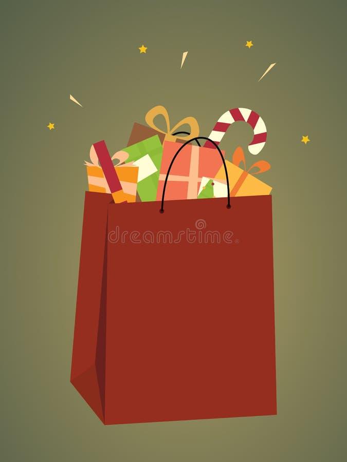 Shopping Bag Of Christmas Gifts royalty free illustration