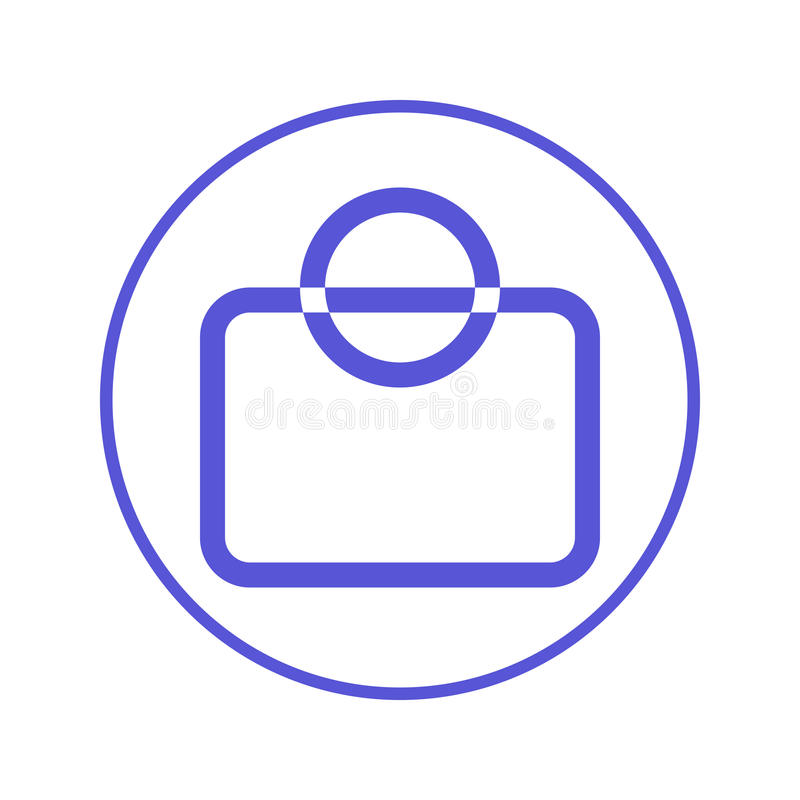 Shopping bag circular line icon. Round sign. Flat style vector symbol. vector illustration