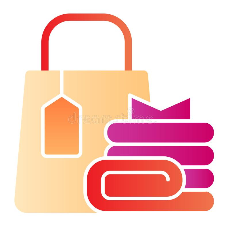 Shopping bag and clothes flat icon. Market bag with purchases color icons in trendy flat style. Shopaholic gradient vector illustration