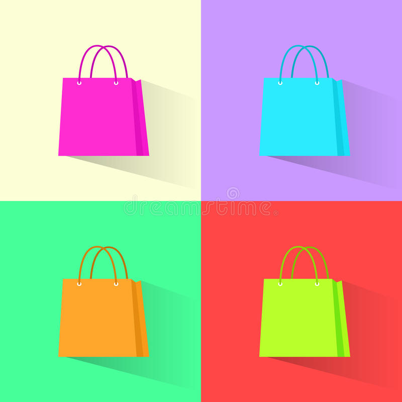 Shopping bag colorful set flat design vector royalty free illustration