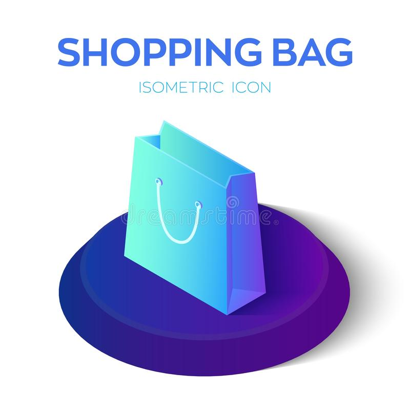 Shopping Bag. 3D Isometric Shopping bag Icon. Created For Mobile, Web, Decor, Print Products, Application. Perfect for web design royalty free illustration