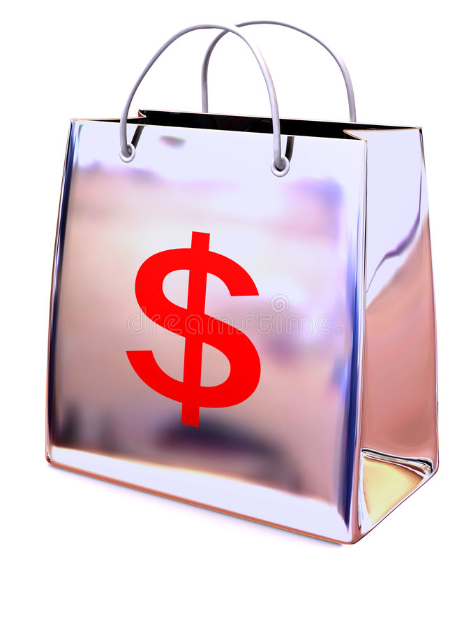 Shopping bag with dollar. 3d Very beautiful three-dimensional illustration, figure vector illustration