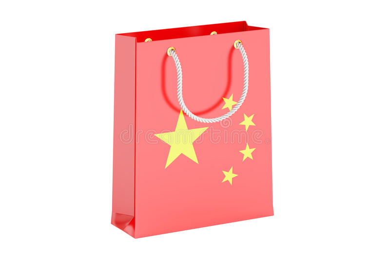 Shopping bag with flag of China, 3D rendering stock illustration