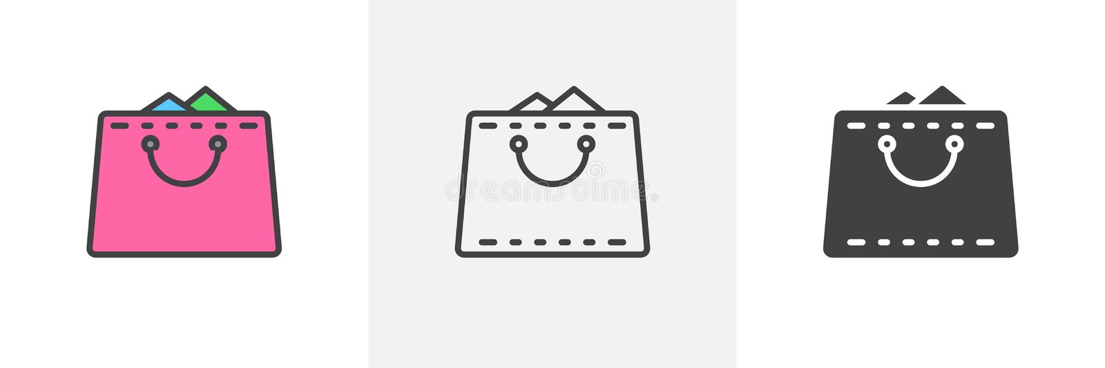 Shopping bag full icon stock illustration