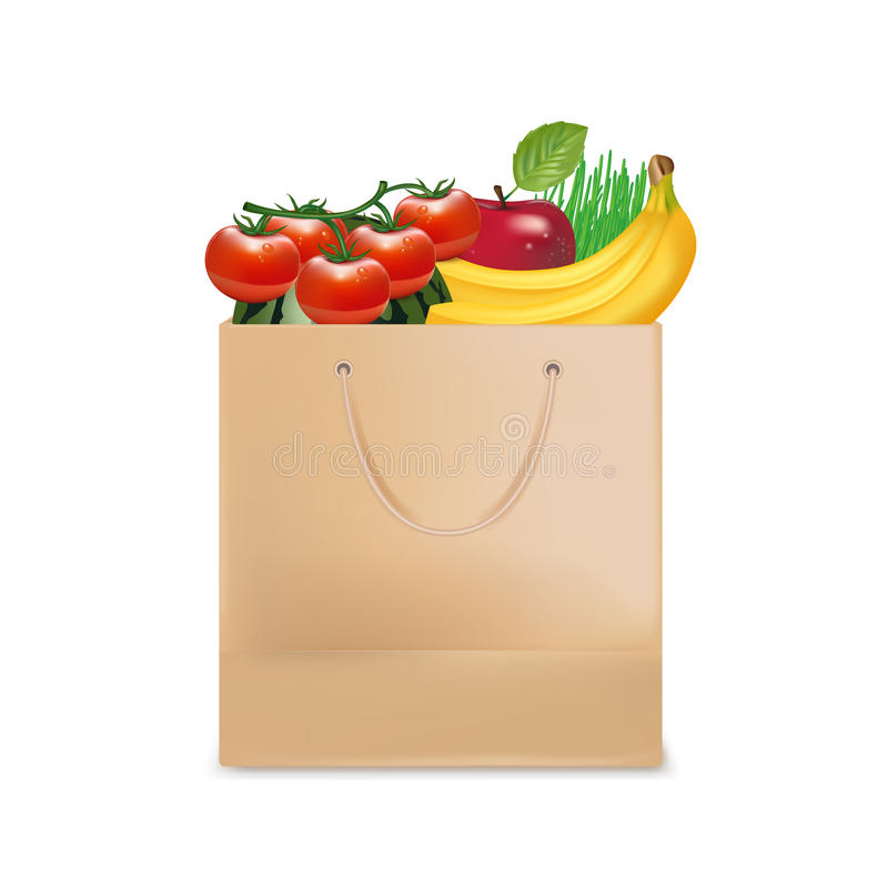 Shopping bag and groceries isolated stock photo