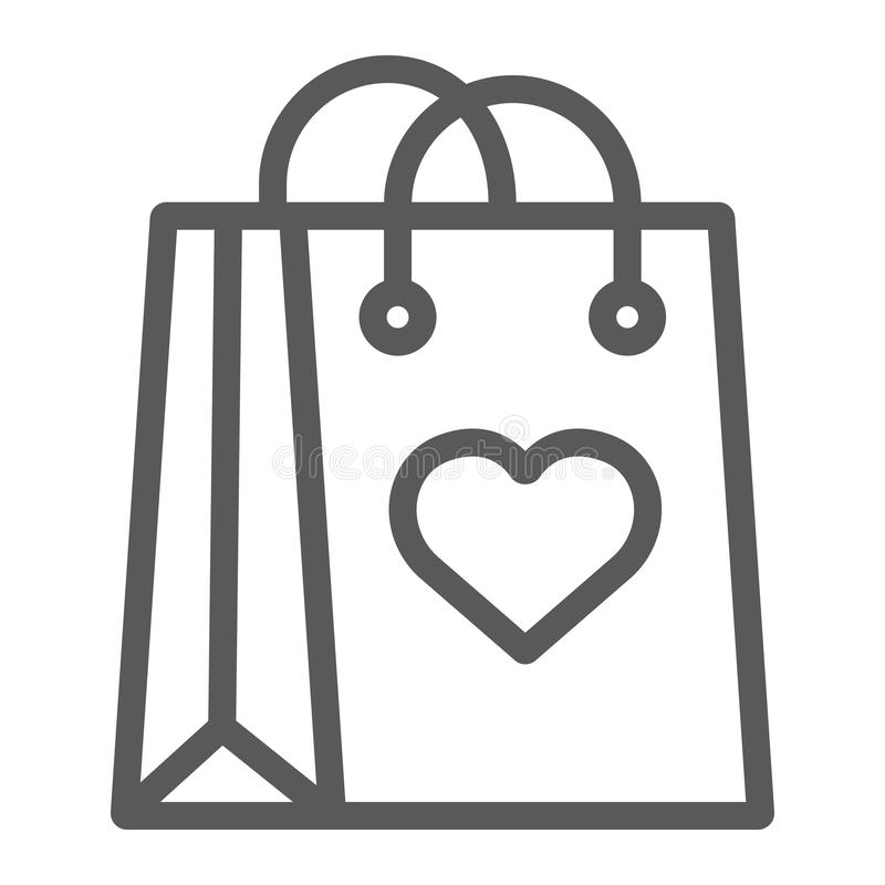Shopping bag with heart line icon, love and package, gift bag sign, vector graphics, a linear pattern on a white stock illustration
