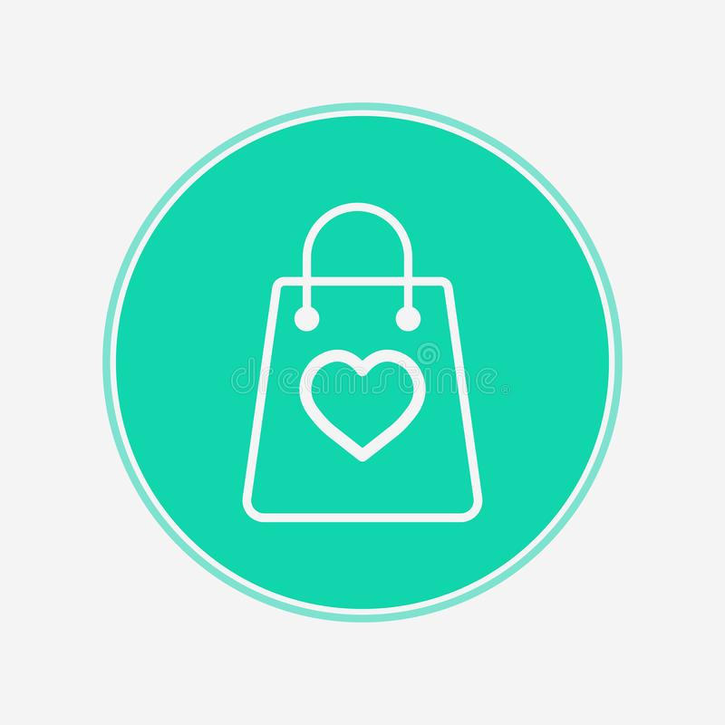 Shopping bag with heart vector icon sign symbol royalty free illustration