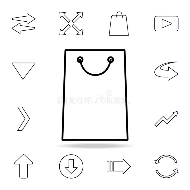 Shopping bag icon. Detailed set of simple icons. Premium graphic design. One of the collection icons for websites, web design,. Mobile app on white background stock illustration