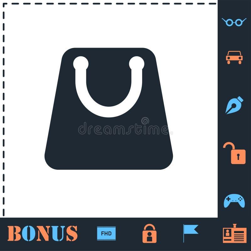 Shopping bag icon flat vector illustration
