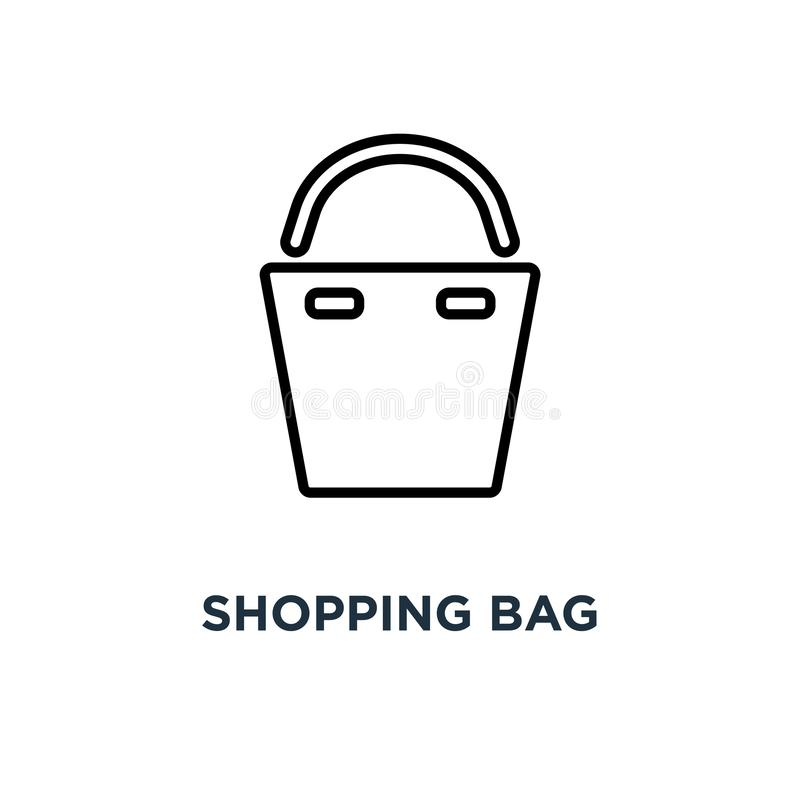 Shopping bag icon. Linear simple element illustration. Paper bag stock illustration