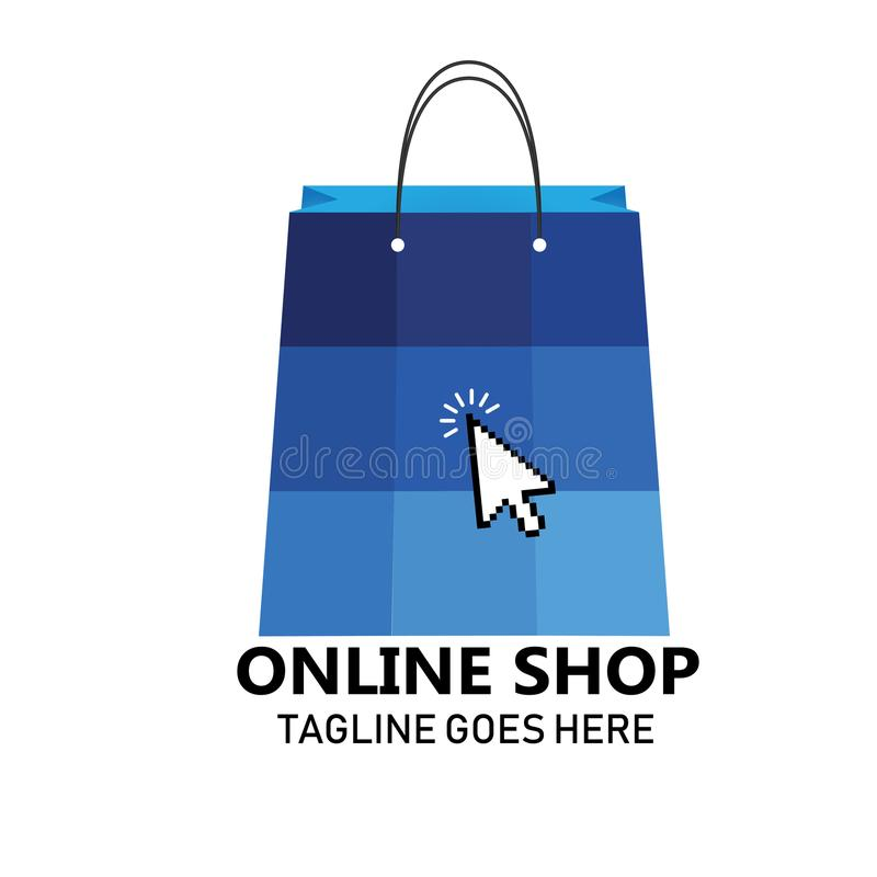 Online Shopping Bag Icon Logo Concept. Logo for online shopping, business, companies, or personal sites royalty free illustration