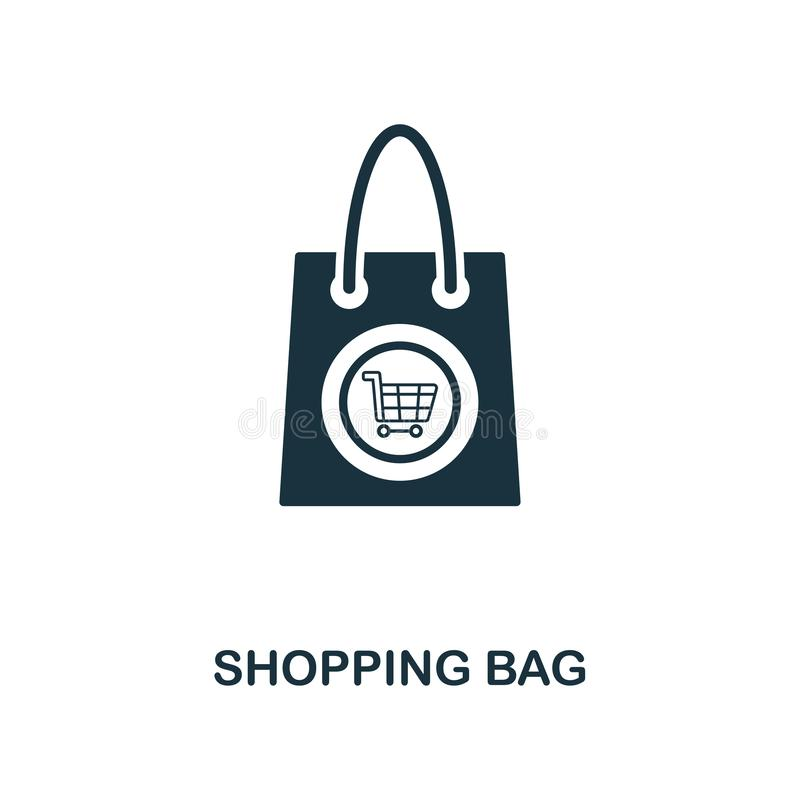 Shopping Bag icon. Monochrome style design from e-commerce icon collection. UI. Pixel perfect simple pictogram shopping bag icon. royalty free illustration