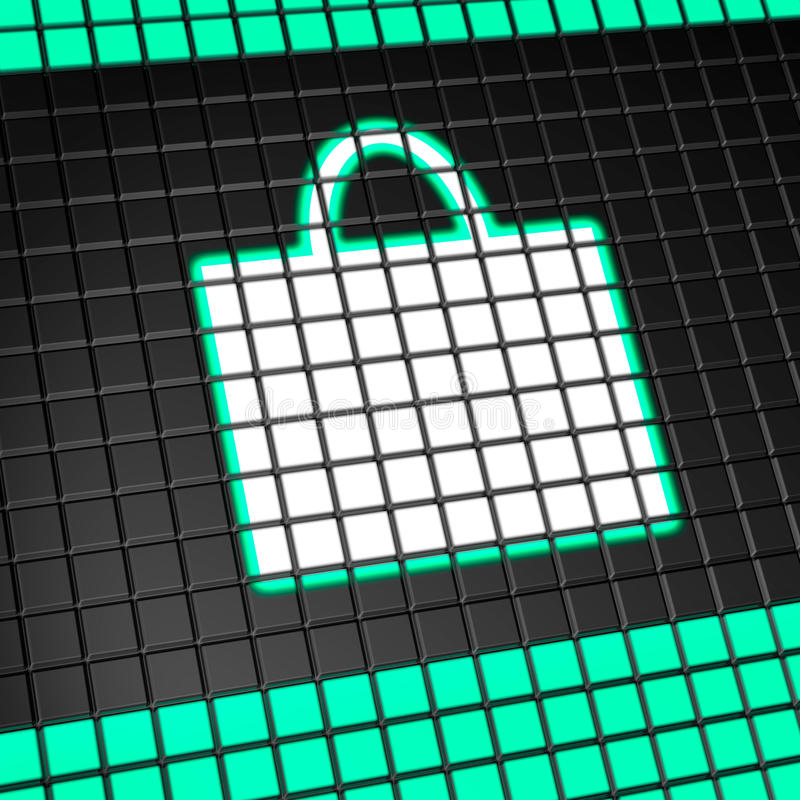 Shopping bag icon on pixel screen