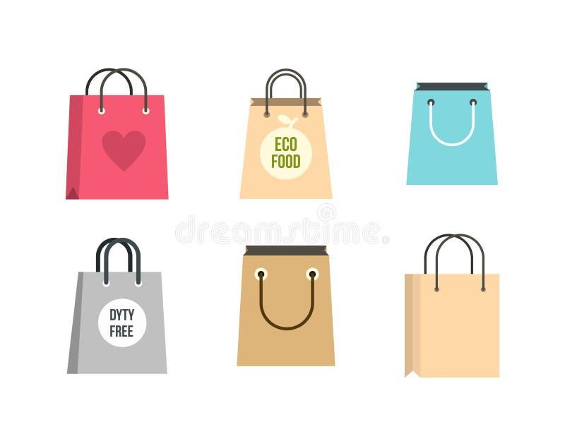 Shopping bag icon set, flat style royalty free illustration