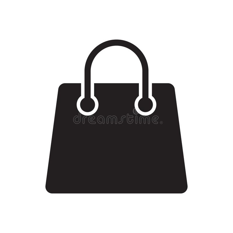 Shopping bag icon. Vector illustration on black background royalty free illustration
