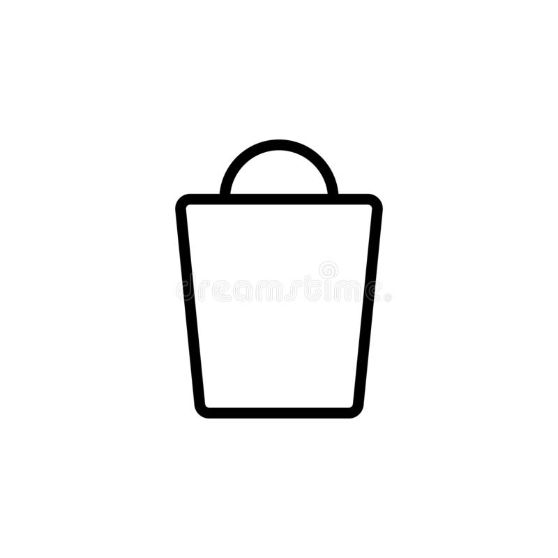 Shopping bag icon. Simple thin line, outline vector of Web icons for UI and UX, website or mobile application stock illustration