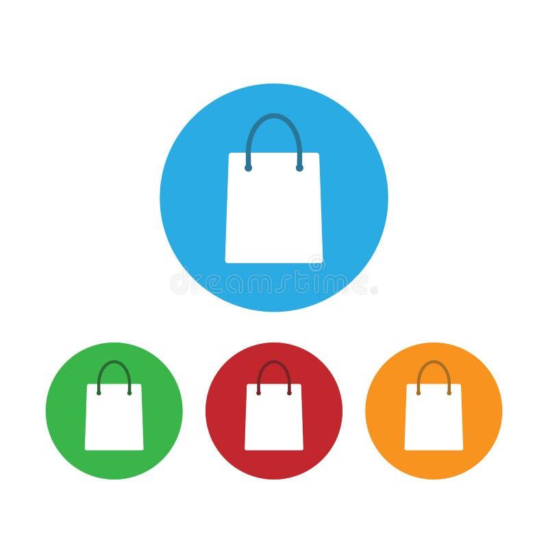 Shopping bag icon. Vector illustration. Flat design. Set royalty free illustration